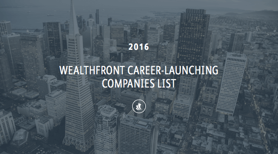 2016 Wealthfront Career-Launching Companies List
